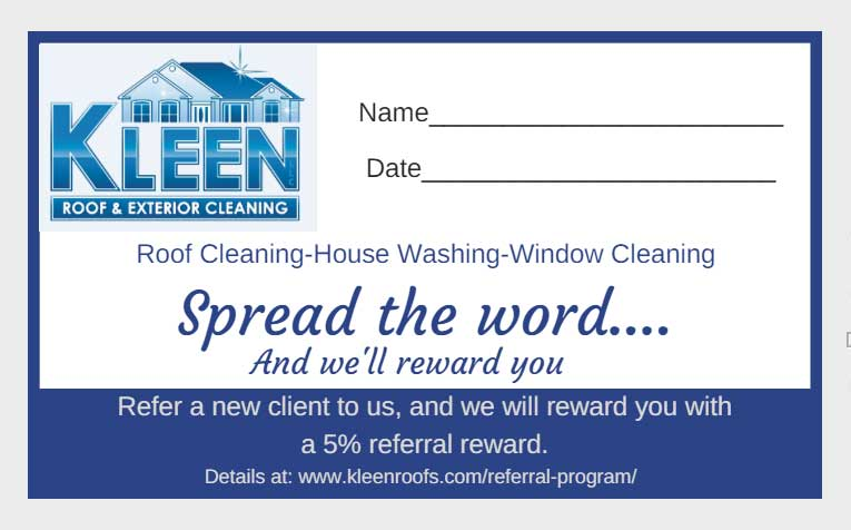 Kleen referral card